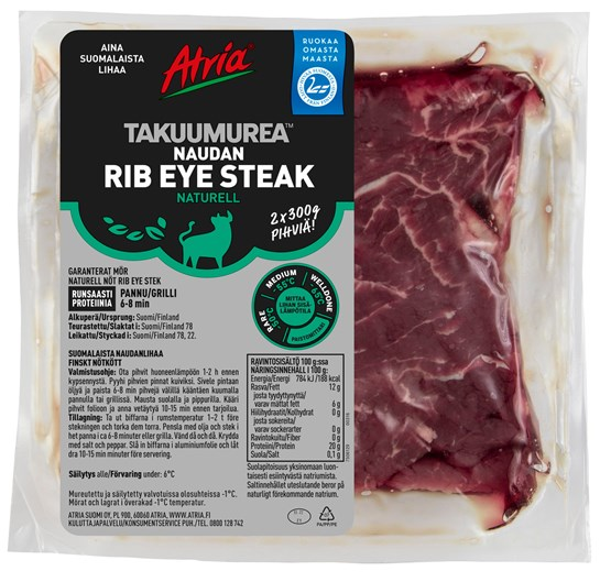 Atria 4xn600g Takuumurea Naudan Rib Eye Steak