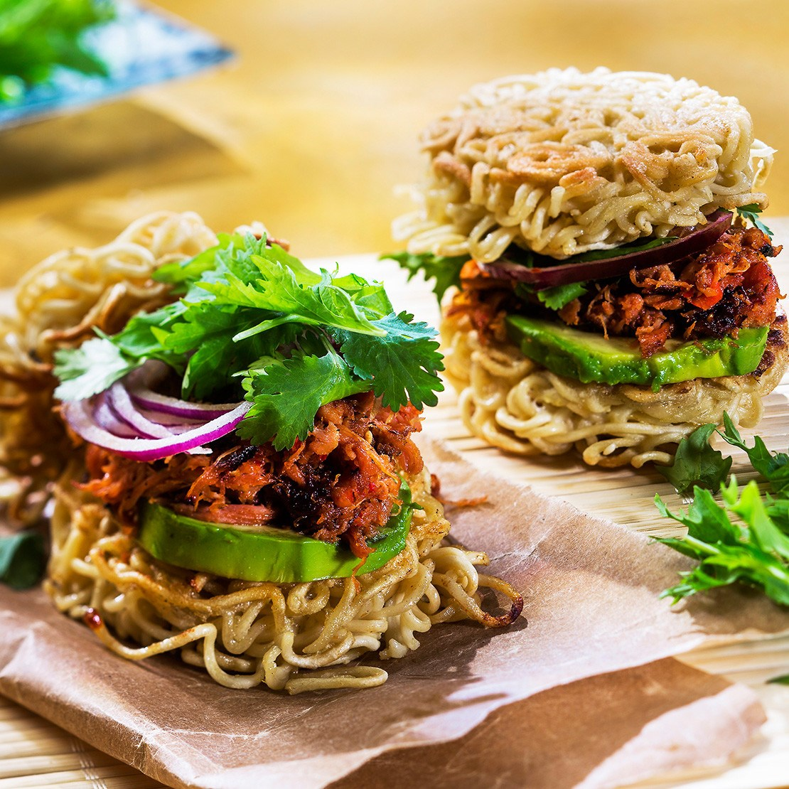 Pulled Chicken Ramen Burger