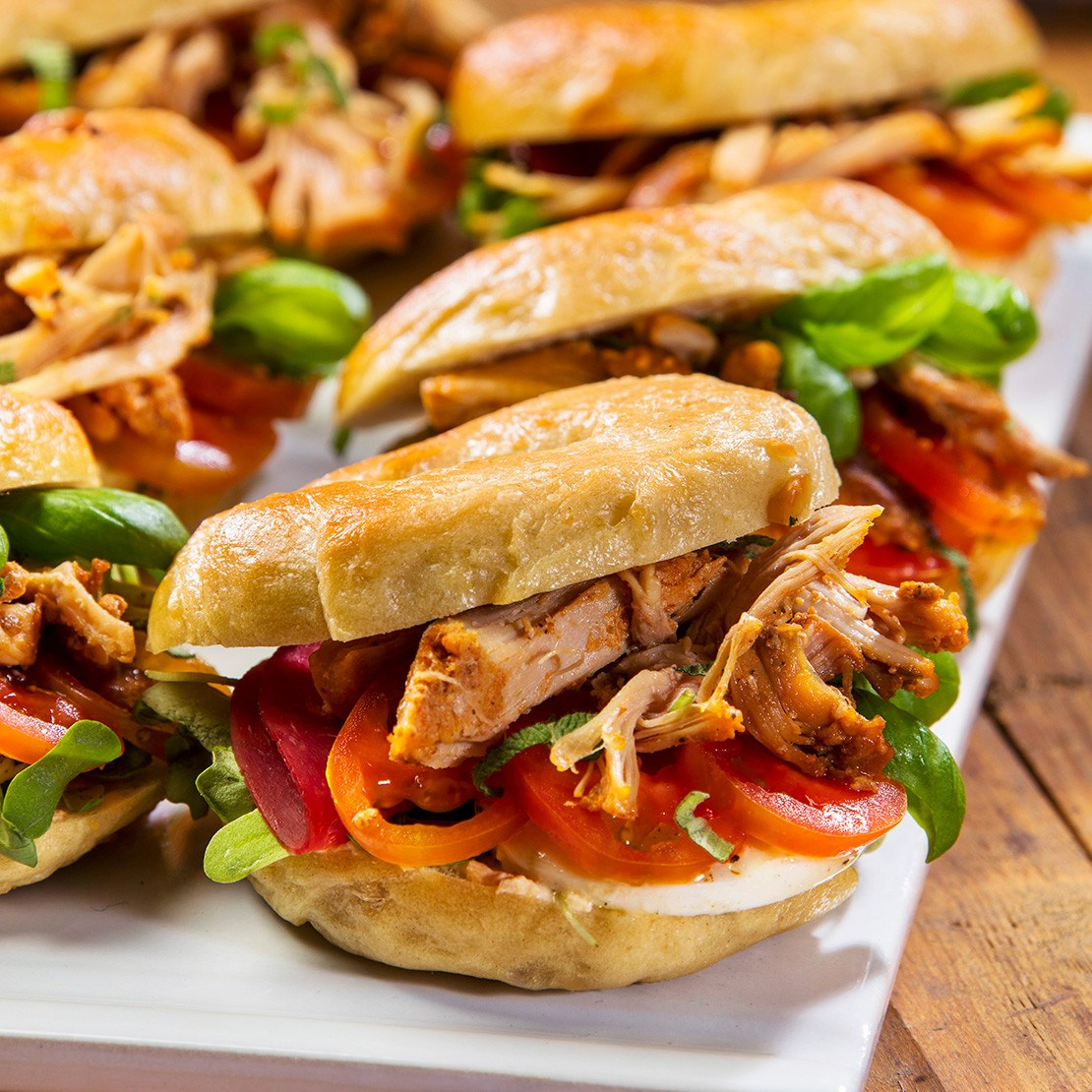 Pulled Salsa Chicken Bagels