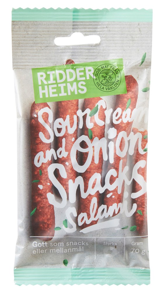 Ridderheims 13x70g Snacks Salami Sourcream&Onion