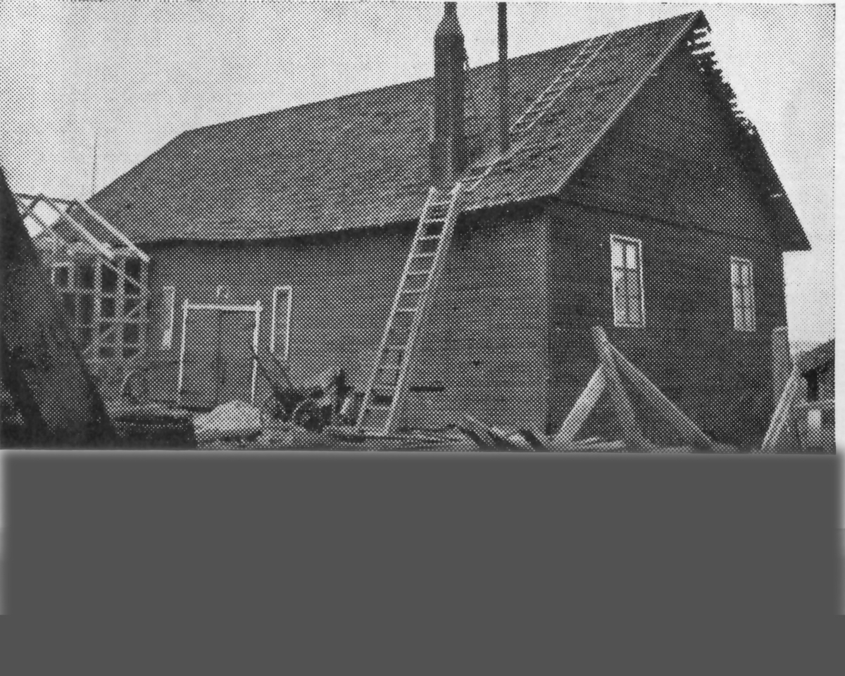 Itikka's first slaughterhouse between 1914 and 1936. The wooden barn with its panel structure was designed to be temporary but it served as a slaughterhouse for almost 20 years.