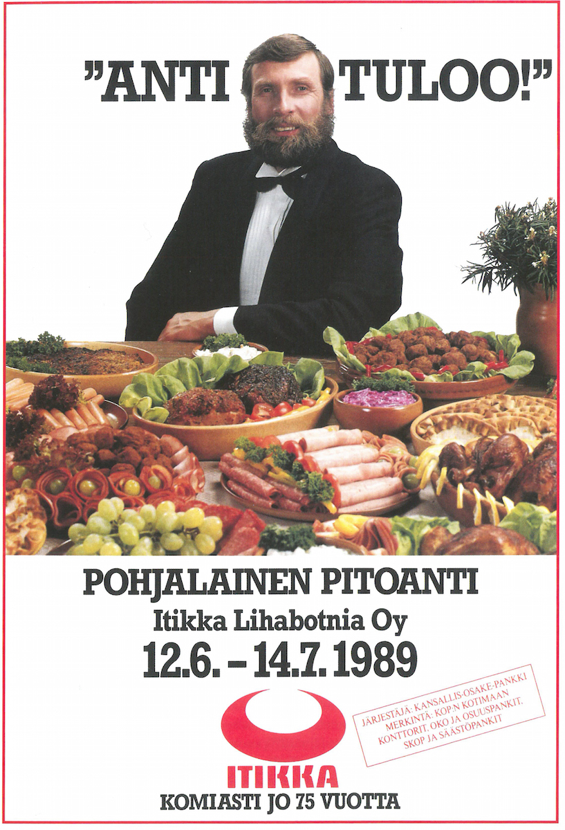 Juha Mieto, a Finnish sports star, advertises a forthcoming food festival.