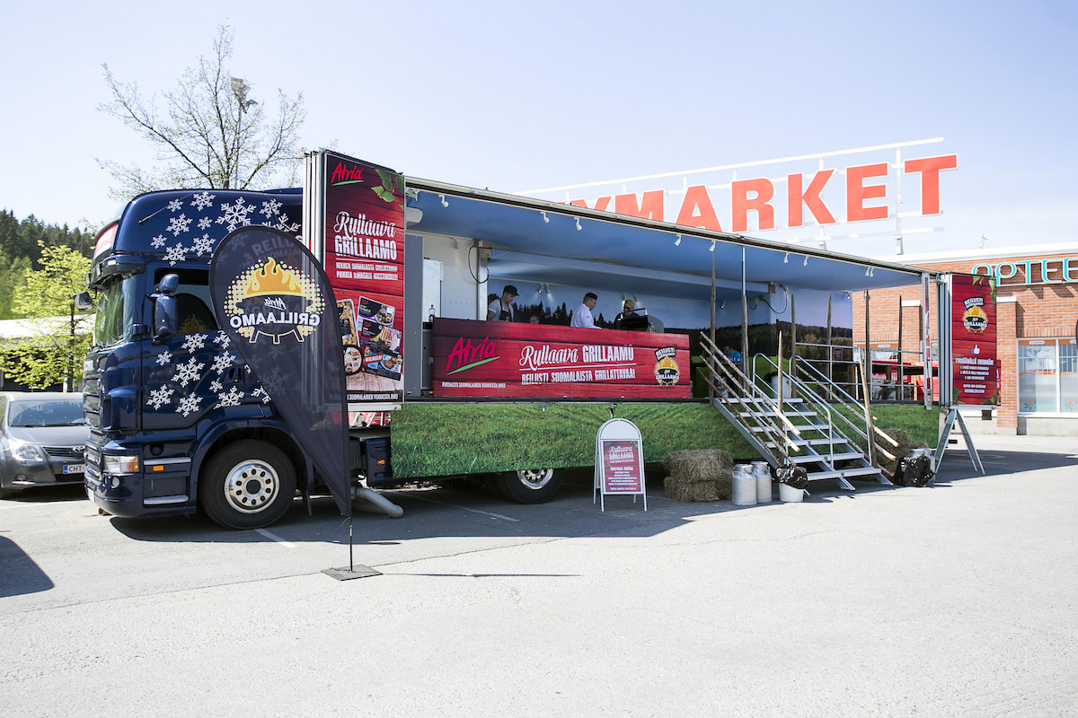 Atria's barbecue lorry has captured the Finnish imagination and offered prime grill products at large shopping centres.
