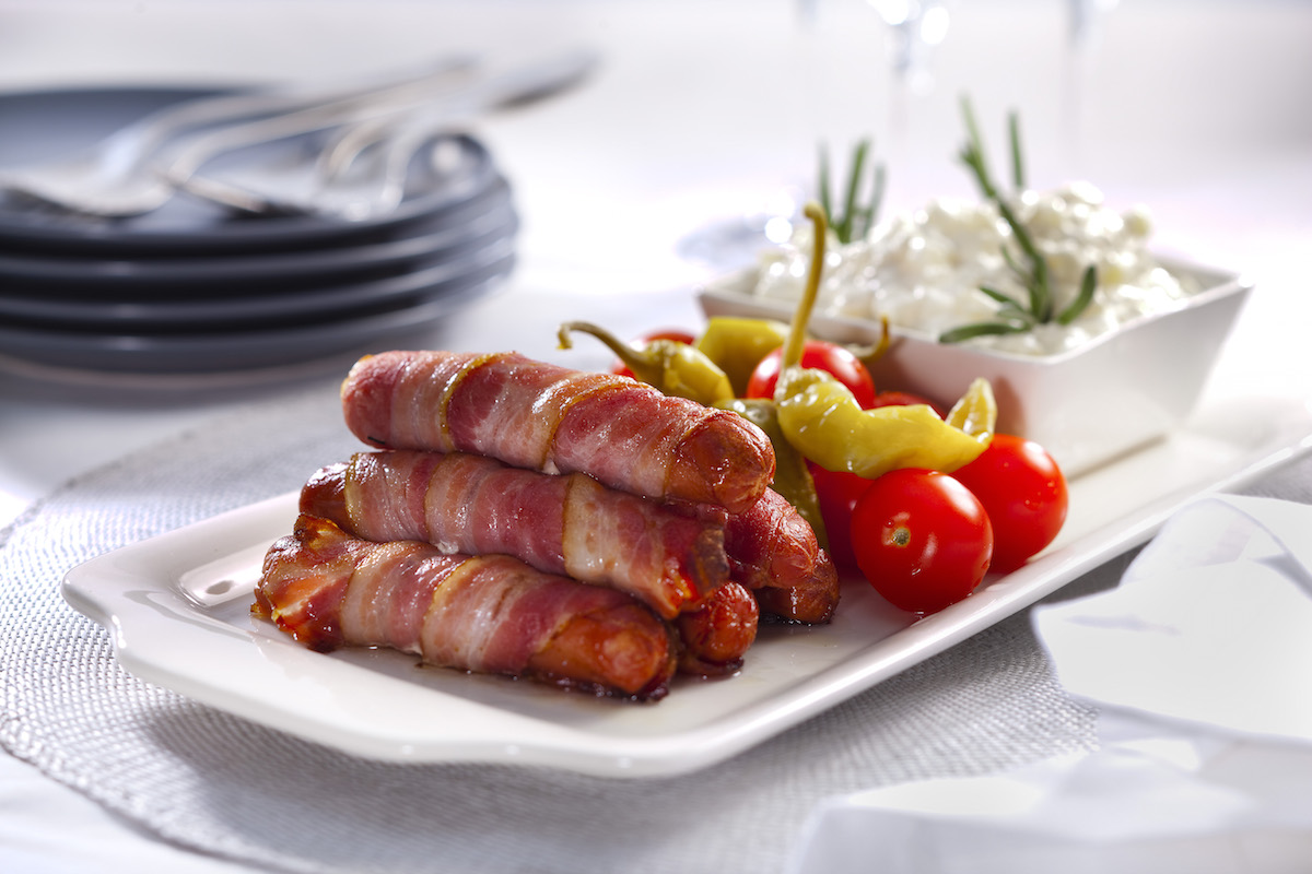 Meaty and tasty. Bacon sausages – for your enjoyment.